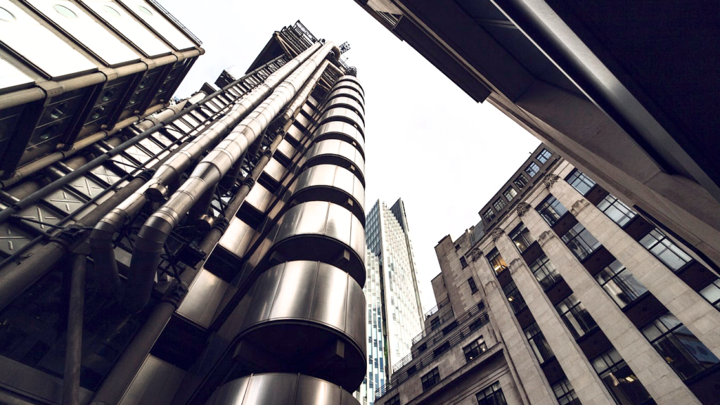 Lloyds of London building low angle