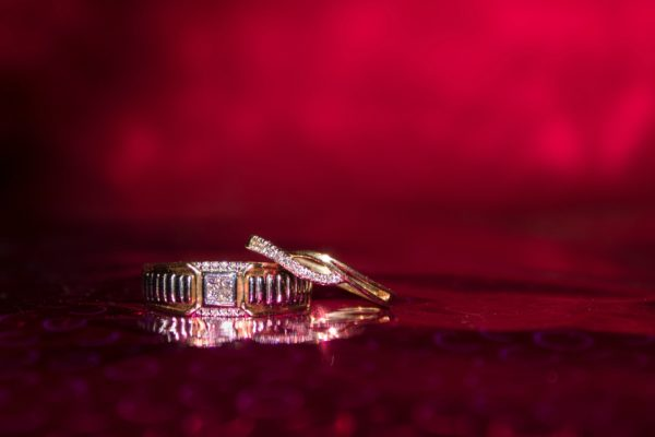 diamond rings on red background